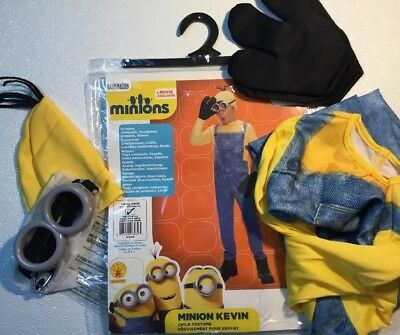 NEW MINIONS KEVIN Childrens Halloween Costume Child 4 - 6 Small Goggles Hat Suit