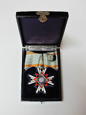 WWII Japanese Order of Sacred Treasure Silver & Enamel 3rd Class Military Medal