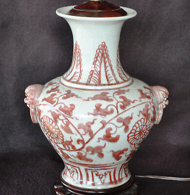 19Th Century Antique Chinese Iron Red Porcelain Vase Lamp Two Ear Lion