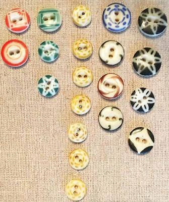 lot of 20 CHINA BUTTONS - stencil calico DIFFERENT COLORS!!