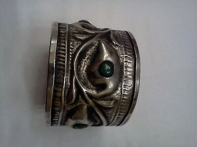 RARE ANTIQUE ART NOUVEAU NAPKIN RING With Green Stones Silver or Silverplated