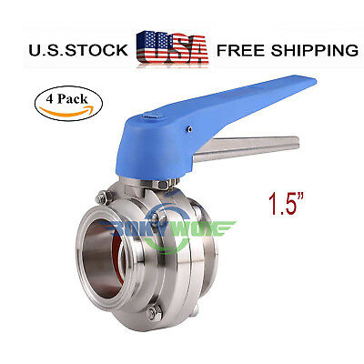 """1.5"""" Sanitary Butterfly Valve Clamp Multi-Position Handle 304 Stainless 4Pack"""