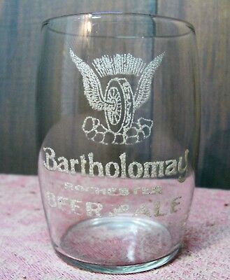 Antique Pre-Prohibition Etched Glass Bartholomay Beer Ale Glass Rochester NY