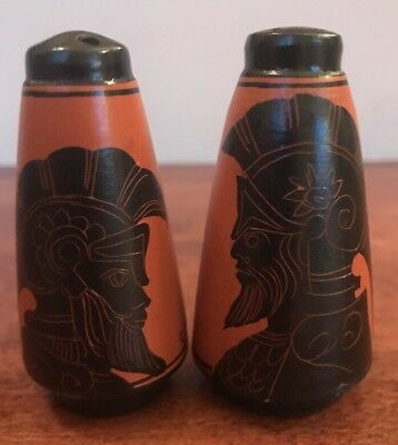 Vintage Greek Salt & Pepper Shaker Greece Achilles Hand Made with Cork