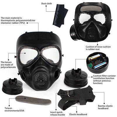 Full Face Dust Gas Mask Filter Respirator Safety Painting Spraying Black CO