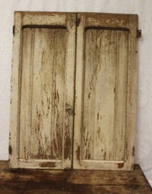 Pair Of Salvaged Antique Primitive Chippy Paint Oak Pie Safe Cupboard Doors