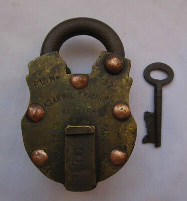 Old or antique solid brass padlock lock with key heavy strong shackle