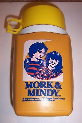 Vintage Mork and Mindy Plastic Lunchbox Thermos 1979 Robin Williams TV Show