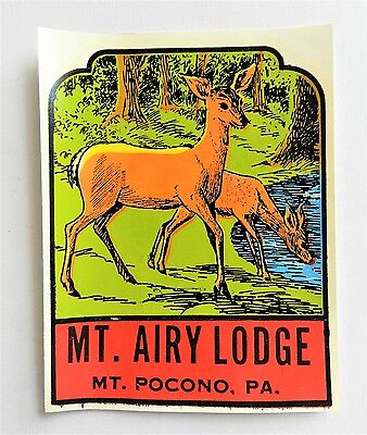 MOUNT AIRY LODGE PA SOUVENIR DECAL POCONO RESORT c1965 CASINO - DEER SCENE + BAG