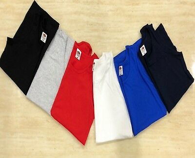 1, 3 Pack Men Fruit of the Loom Plain Athletic Vests Tank Top Gym Sports T Shirt