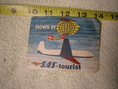 Vintage Flown SAS SCANDINAVIAN AIRLINES SYSTEM Great Old Luggage Label tourist
