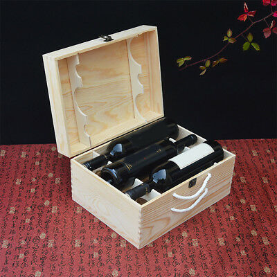 Wooden Wine Box/champagne box holds For Six bottles pine wood metal clasp