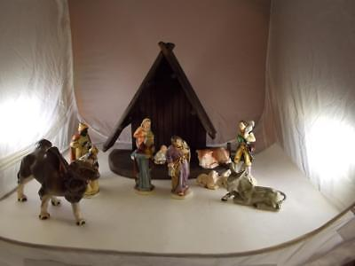 Friedel West Germany Porcelain Nativity Set 14 Pieces With Wooden Creche Stable