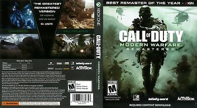 Call Of Duty Modern Warfare Remastered  (Xbox One S X) Replacement Case