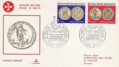 Sovereign Military Order of Malta SMOM FDC 1970 Coins (c)