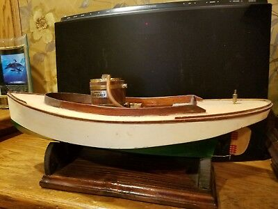 Vintage wood model speed boat powered by Midwest brass steam engine w/boat stand