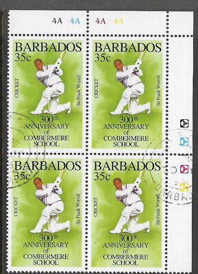 BARBADOS 1995 350th Anniv COMBERMERE SCHOOL SIR FRANK WORRELL CORNER BLOCK of 4