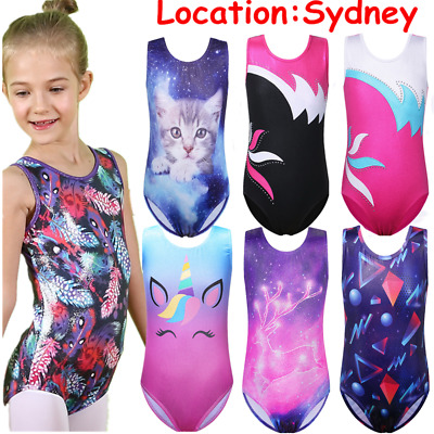 AU Warehouse Kids One-piece Ballet Gymnastics Leotards 3-14Y Stretchy Bodysuit