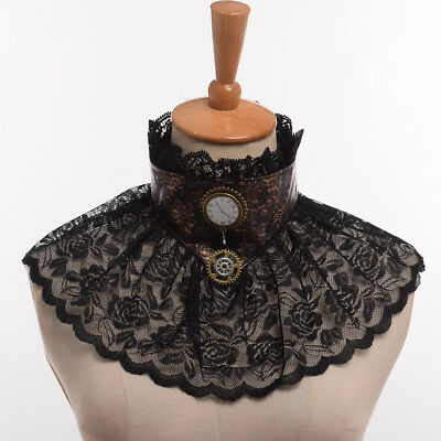 Vintage Steampunk Victorian Ladies' Handmade Black Lace Necklace Ruffle Collar