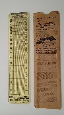 Vintage Stanley Gibbons Instanta stamp perforation guide and paper sleeve.