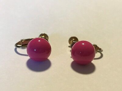 Vintage Marvella Clip Earrings 10mm Round Pink Ball on Gold