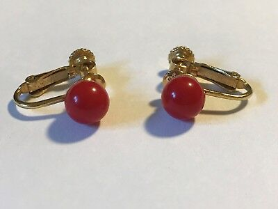 Vintage Napier Clip Earrings 6mm Round Red Ball on Gold