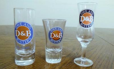 3 Dave & Busters Collectible Shot Glasses - All Different