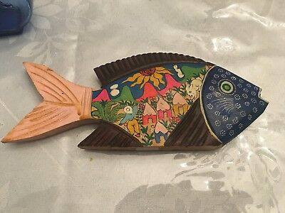 Vintage Mexican Folk Art Hand Carved and Hand Painted FISH 8'