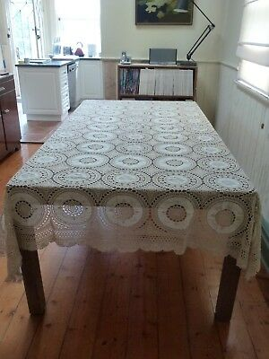 Antique lace and embroidered tablecloth and napkins