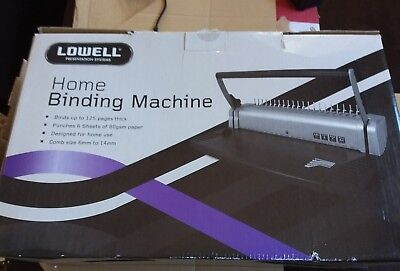Lowell HomePlastic Comb Binder Binding Machine 21 holes binds up 125p punches 6p