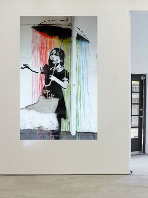 Painting Graffiti Street Art Banksy girl stencil rain spray  Canvas Australia