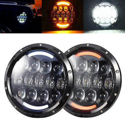 """Chevrolet Truck 3100 Pair 7"""" Led Round Headlights Projector Turn Signal"""