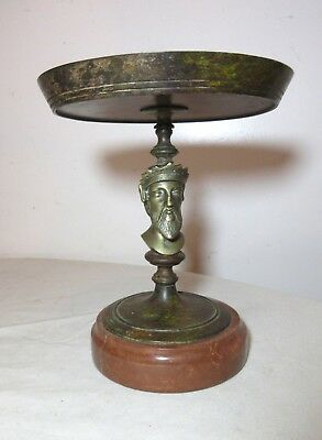antique figural brass patinated cast iron compote centerpiece dish bowl marble