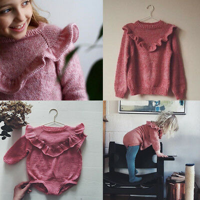 Newborn Baby Girl Autumn Sweater Tops Ruffle Knitted Warm Coat Outerwear Clothes