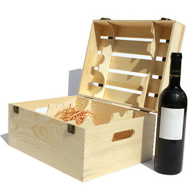 Handmade Wooden Box With Lid Solid Pine Wine Storage Gift Crate for Six Bottles
