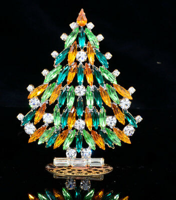 Czech christmas tree - stand-up or pin - rhinestone - 3.93x 2.75 - CZ