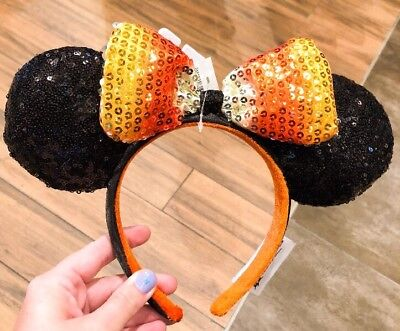 Disney Authentic Sequins Minnie Mouse Candy Corn Halloween Not So Scary Ears Bow