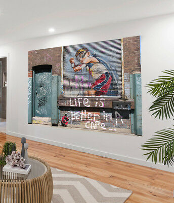 Painting Graffiti Street Art Banksy life better in cape Print Canvas Australia