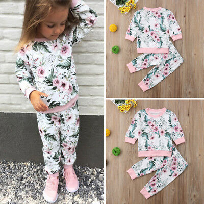 US Newborn Kids Baby Girls Tops Floral Pants Leggings Outfits Set Clothes 0-3T
