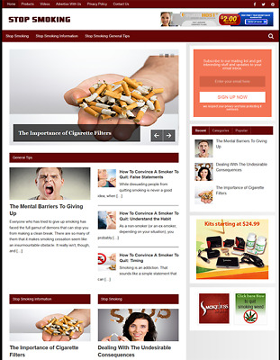 STOP SMOKING - Fully Featured Niche Business Website For Sale - Newbie Friendly