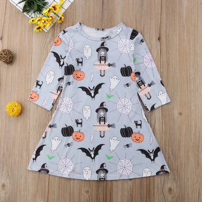 CUTE Halloween Toddler Kids Baby Girls Print Long Sleeve Dress Casual Clothes US