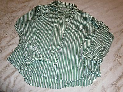 Vintage Mens Woodhouse 15.5 Inch / 39 Cm Neck Green, White & Grey Striped Shirt