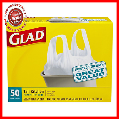 Glad Tall Handle Tie Kitchen Trash Bags 13 Gallon 50 Count 4 Pack