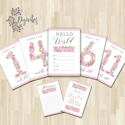 Baby, Girl Milestone Cards, Floral Monogram Boho Milestone Cards and moments