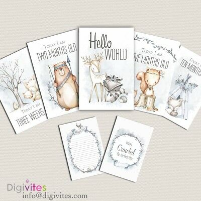Baby Milestone Cards, Baby Boy Moments and Milestones, Woodland, Announcement