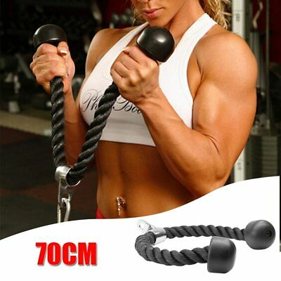 70cm Tricep Rope Press Down Push Pull Cord Multi Gym Lat Bar Cable Attachment UK
