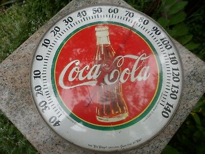 1984 Coca-Cola Round Metal Domed Gas Station Thermometer Sign Tru Temp Jumbo