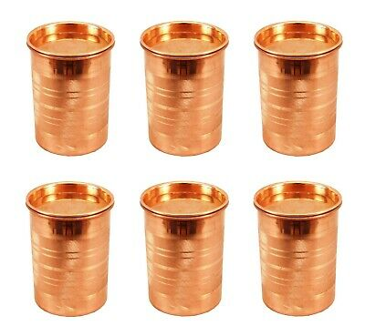6 Pcs 100% Indian Handmade Damru Eaching Pure Copper Glass Drinking Water