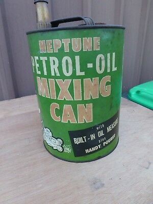 Hard To Find Pictorial Neptune Petrol Oil Mower Fuel Tin In Nice Condition