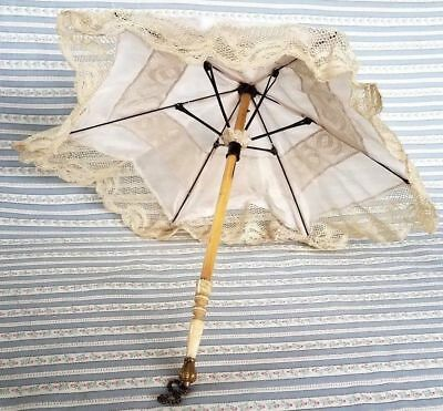 """Antique French Fashion Doll Parasol Pink Silk & Lace Carved Handle 10.5"""""""